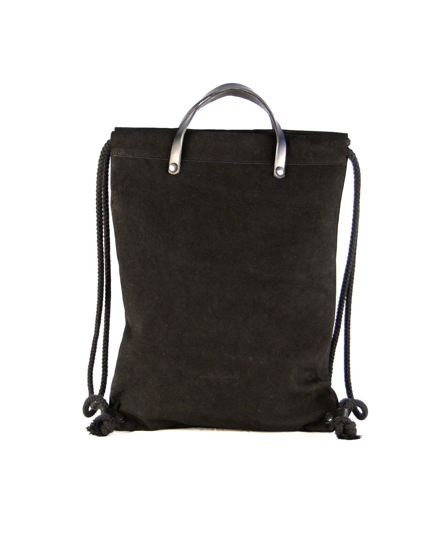 mochila estilo bolsa de la merienda color negro tacto melocotón