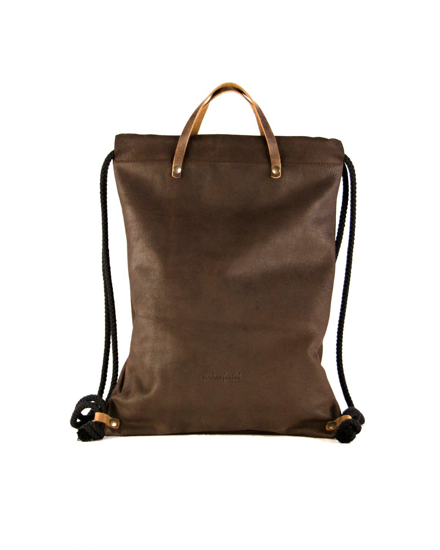 Mochila estilo bolsa de la merienda color marrón oscuro