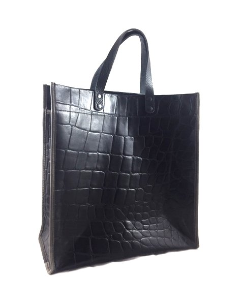 Shopping bag de cuero grabad reptil con asas de mano negras y ribete gris